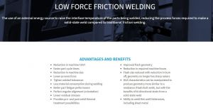 LOW FORCE FRICTION WELDING