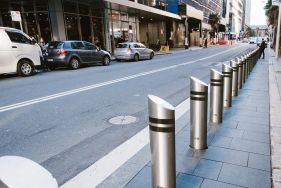 Decorative security for inner cities with crash bollards as street furniture