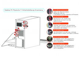Mechanische Schlösser zum Verriegeln und zum Schutz offener IT-Hardwareschnittstellen.