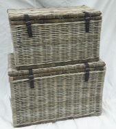 Handwoven rattan basket - Rustic Storage with Leather Straps