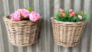 Handwoven rattan basket - wall flower basket