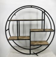 Metal/wood wall shelf black